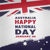 Australia National Day. Australian Flag With Stripes And National Colors. Australia Happy National D poster