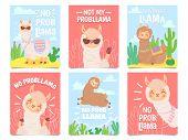 No Prob Llama Posters. Cute Llamas Have No Problems Greeting Cards, Beautiful Wildlife Animals. Moti poster