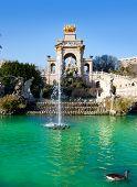 Barcelona ciudadela park lake fountain with golden quadriga of Aurora