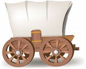 picture of wagon wheel  - a covered wagon the kind that the pioneers used when they headed west - JPG