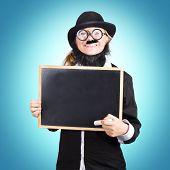 Funny Science Teacher Holding Blank Chalkboard