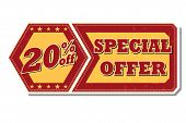 20 Percentages Off Special Offer - Retro Label