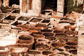 Old Tanks Of The Fez's Tanneries With Color Paint For Leather, Morocco, Africa