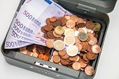 Open Cashbox With Euro Money
