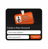 Create A New Account Form With Orange Id Card. Element For Websites And Mobile Applications