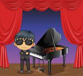 Ilustración de un piano con un pianista