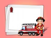 Illustration of a fireman holding a fire extinguisher beside his fire truck in front of a white blan