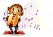 Illustration of a monkey playing with the cymbals on a white background