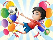 Illustration of a soccer player with balloons