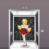 Illustration of a waitress at the elevator