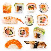 big colorful sushi set on a white background