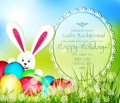 stock photo of rabbit hole  - vector easter background with frame for text - JPG