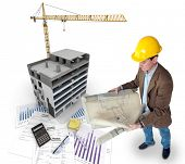 All elements of a property purchase, an architect with blueprints, a building under construction, a