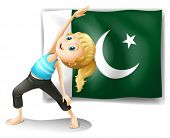Illustration of the Pakistan flag at the back of a girl on a white background