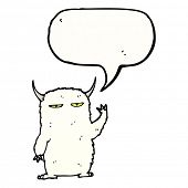 cartoon yeti with speech bubble