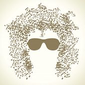 picture of pop star  - human face is made up of musical notes - JPG