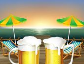 Illustration of the mugs of cold beer at the beach