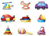 Illustration of the nine different kind of toys on a white background