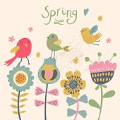 Cute cartoon birds on flowers in vector. Stylish floral card. Summer background in bright colors.