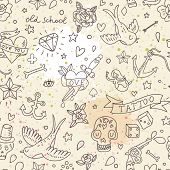 image of jaw-bone  - Tattoo concept seamless pattern - JPG