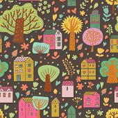Stylish cartoon urban seamless pattern. Cute houses and trees on bright background in vector.  Seaml