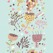 Cartoon floral seamless pattern. Spring background in pastel colors.  Seamless pattern can be used f