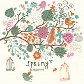 Birds on the tree ni flowers out of cages. Spring concept background in vector. Floral composition c