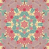 Bright abstract vintage wallpaper in vector. Mandala style.  Seamless pattern can be used for wallpapers, pattern fills, web page backgrounds, surface textures. Gorgeous seamless retro background