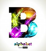 Vector Customizable Light Effect Alphabet. Design Abstract Letter B.