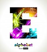 Vector Customizable Light Effect Alphabet. Design Abstract Letter E.