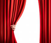 stock photo of presenter  - Background with red velvet curtain and hand - JPG