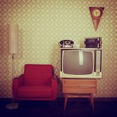 stock photo of tv sets  - Vintage room with wallpaper - JPG