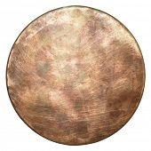 Round copper plate texture, old metal background.