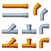 stock photo of sewage  - vector PVC sewer pipes orange gray - JPG