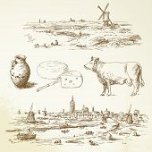 Windmill in Nederland- hand drawn illustration
