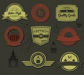 Estilo retro sofisticados rótulos e etiquetas, com relevo preto sobre preto ícones e símbolos