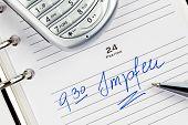 ein Datum in einem Kalender eingetragen ist: impfen