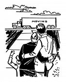 Family Watching Moving Van - Retro Clip Art Illustration