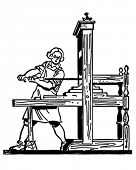Colonial Printing Press - Retro Clip Art Illustration