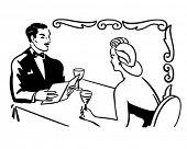 Classy Couple Dining - Retro Clip Art Illustration