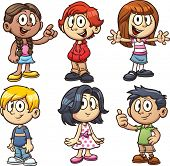 Cartoon school kids. Vector clip art illustration with simple gradients. Each in a separate layer.