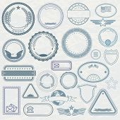 Empty Template of Rubber Stamps. Customizable Vector Design Elements.