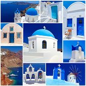 Collage of Santorini island images, Greece