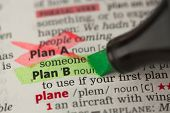 Plan B definition highlighted in green and Plan A marked in the dictionary