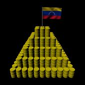 Stack of oil barrels with Venezuelan flag illustration