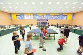 MOSCOW, RUSSIA OCT 23: Children's classes in ping pong in Russian State University of Physical Cultu