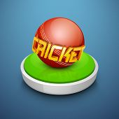 Shiny cricket ball on filed stage having text cricket on blue background.
