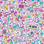 Music Rock and Roll Star Seamless Pattern Groovy Notebook Doodles- Vector Illustration Hand-Drawn De