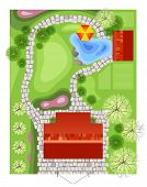 Highly detailed landscape design plan. EPS 10