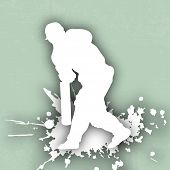 image of cricket shots  - Cricket batsman in playing action on abstrct background - JPG